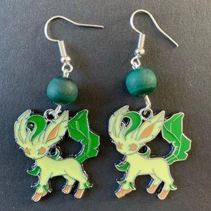 3/$30 Leafeon Pokemon Malachite Earrings
